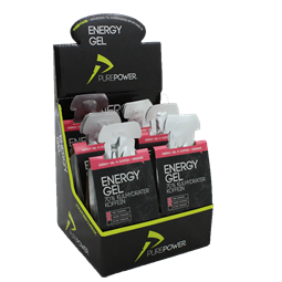 PurePower energy gel hindbær m. koffein 6x3 stk